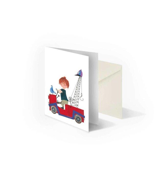 'Pluk in Tow-Truck' folded notecard, Fiep Westendorp