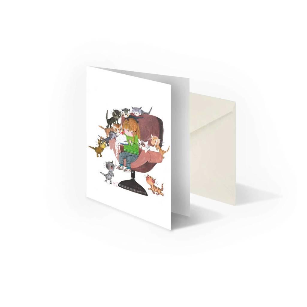 Bekking & Blitz 'Cat Party' folded postcard, Fiep Westendorp