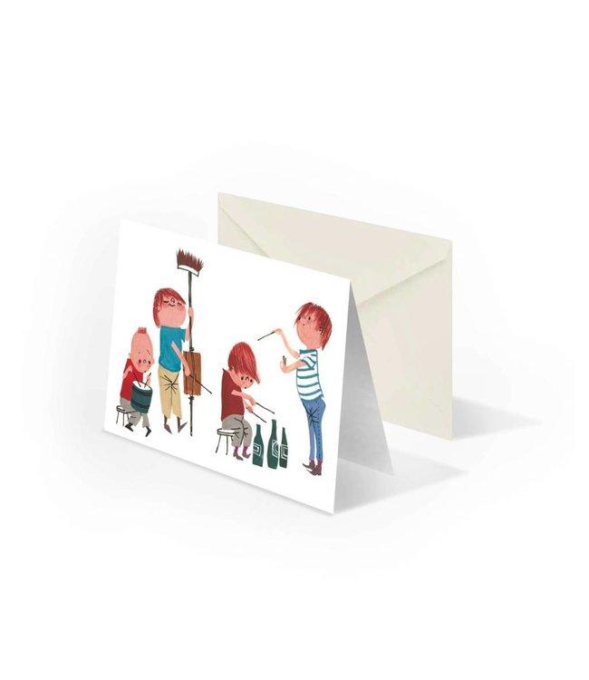 'Musicians' double postcard, Fiep Westendorp