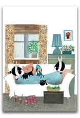 Bekking & Blitz 'Jip en Janneke ziek op bed' dubbele wenskaart