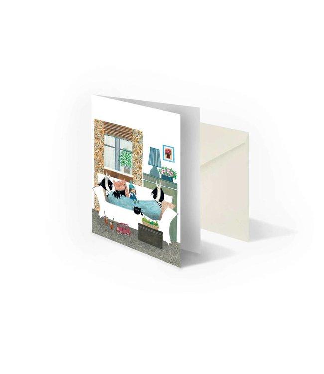 'Jip and Janneke sick in bed' double postcard, Fiep Westendorp