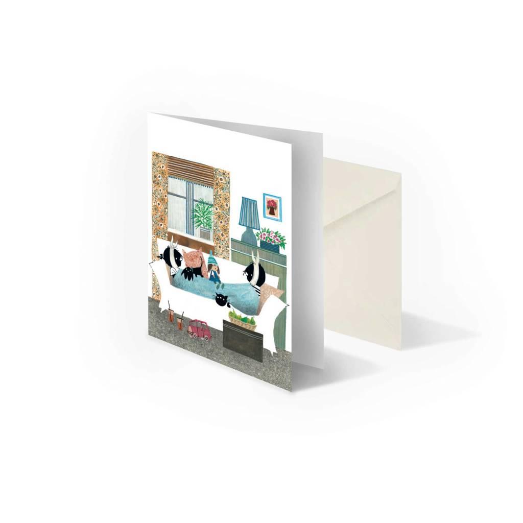 Bekking & Blitz 'Jip and Janneke sick in bed' double postcard, Fiep Westendorp