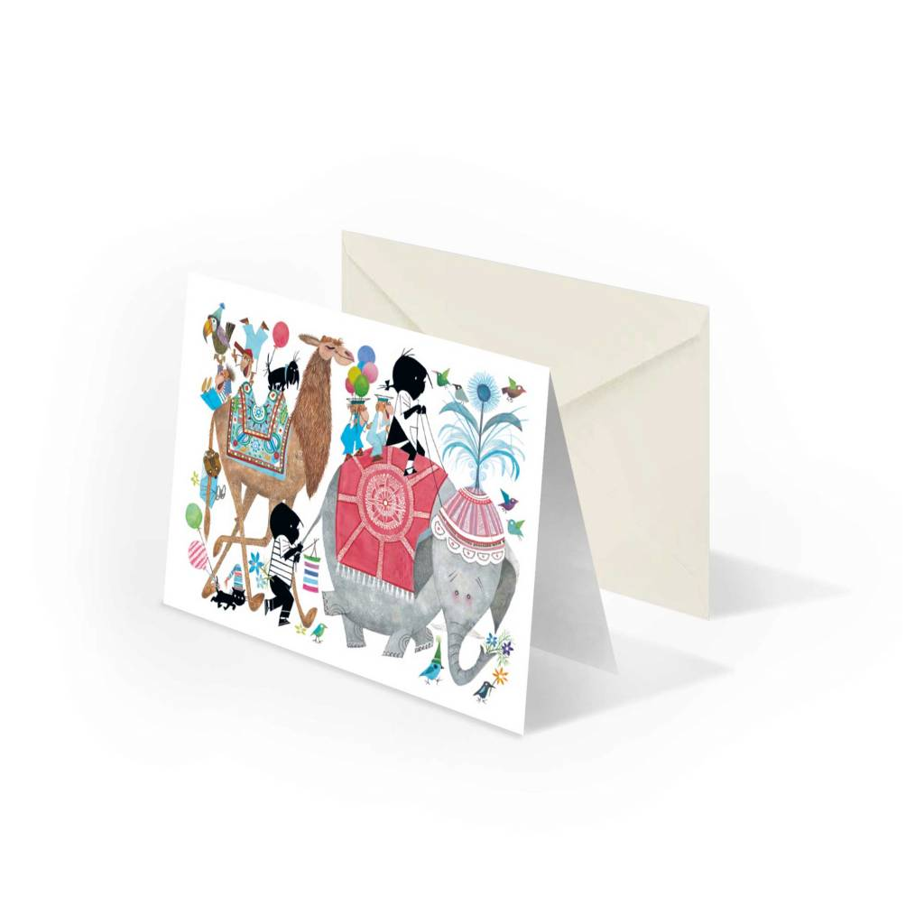 Bekking & Blitz 'Jip and Janneke in parade with elephant' double postcard, Fiep Westendorp