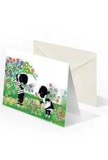 Bekking & Blitz 'Jip and Janneke  picking flowers' Double postcard, Fiep Westendorp
