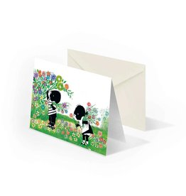 Bekking & Blitz 'Jip and Janneke  picking flowers' Double postcard