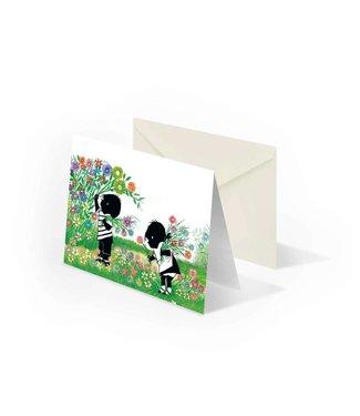 Bekking & Blitz 'Jip en Janneke plukken bloemen', dubbele wenskaart