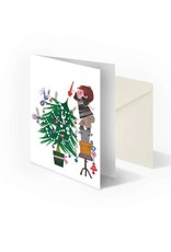 Bekking & Blitz 'Decorate Christmas tree' Double postcard, Fiep Westendorp