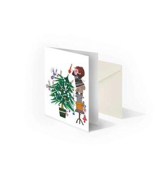 Bekking & Blitz 'Kerstboom versieren', dubbele wenskaart