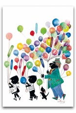 Bekking & Blitz 'Jip en Janneke met ballonnen' dubbele wenskaart, Fiep Westendorp