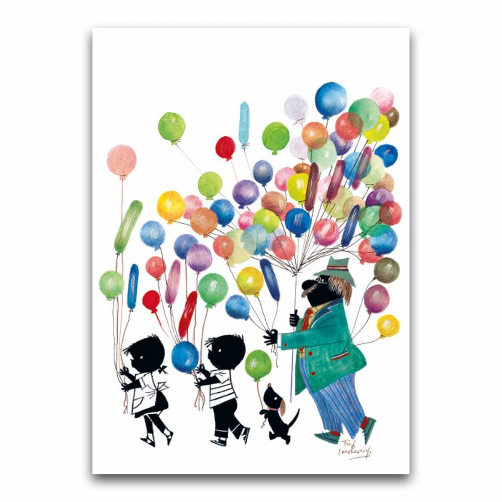 Bekking & Blitz 'Jip and Janneke with balloons' double postcard, Fiep Westendorp