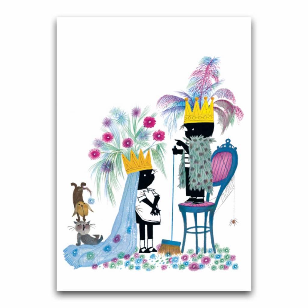 Bekking & Blitz 'Jip and Janneke as King and Queen' folded postcard, Fiep Westendorp