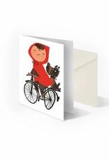 Bekking & Blitz 'Meisje op de fiets' dubbele wenskaart, Fiep Westendorp