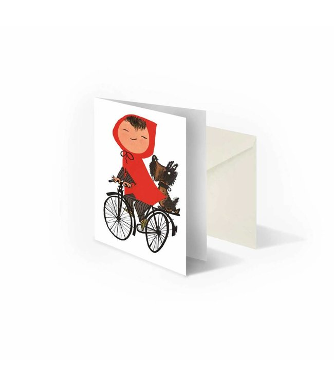 'Meisje op de fiets' dubbele wenskaart, Fiep Westendorp