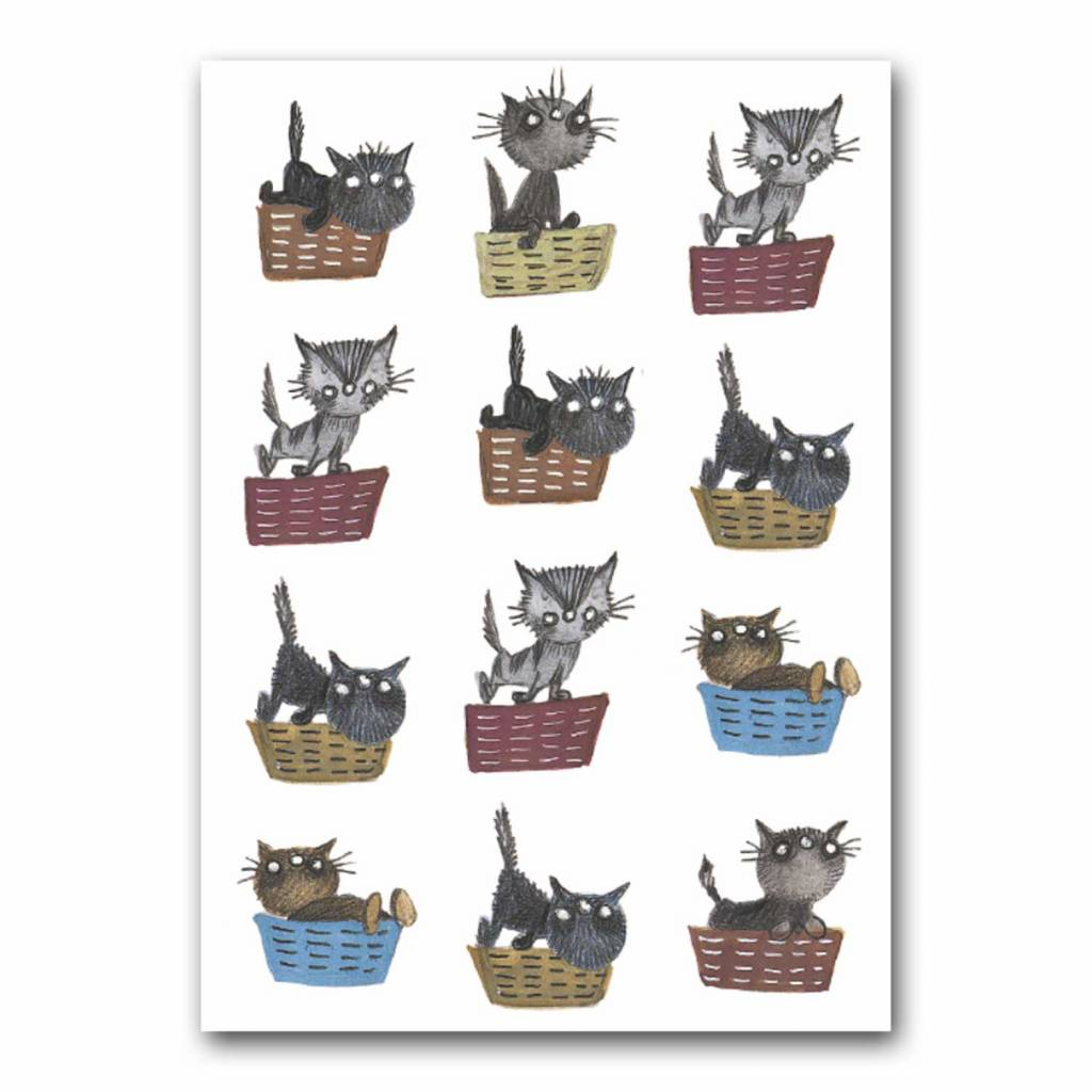 Bekking & Blitz 'Cats in Baskets' folded notecard