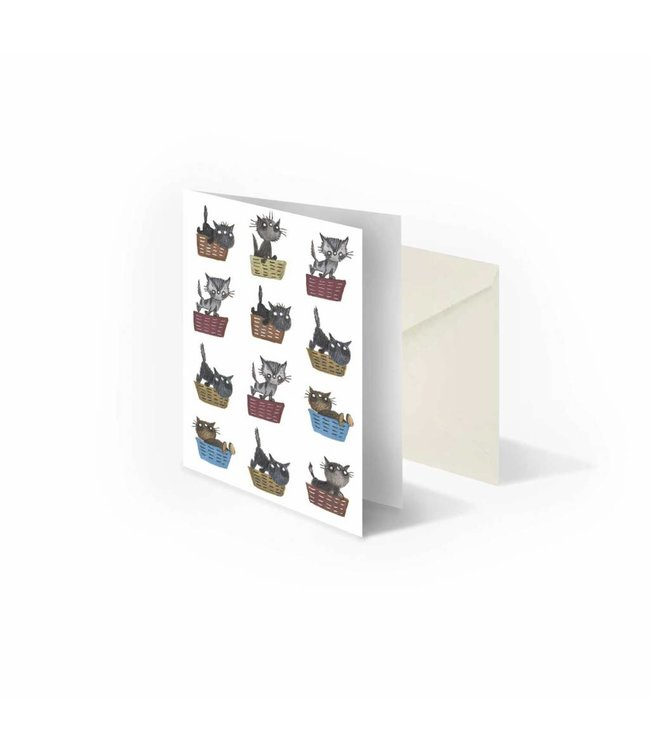 'Cats in Baskets' folded notecard