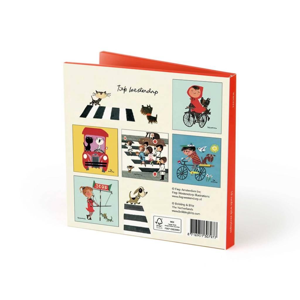 Bekking & Blitz Ansichtkaartenmapje, 'Fiep in het verkeer'