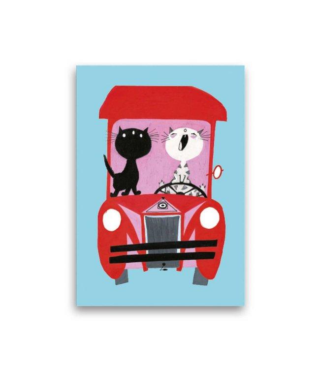 'Pim and Pom driving a Car' Single Card