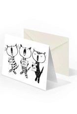 Bekking & Blitz 'Singing cats' folded notecard, Fiep Westendorp