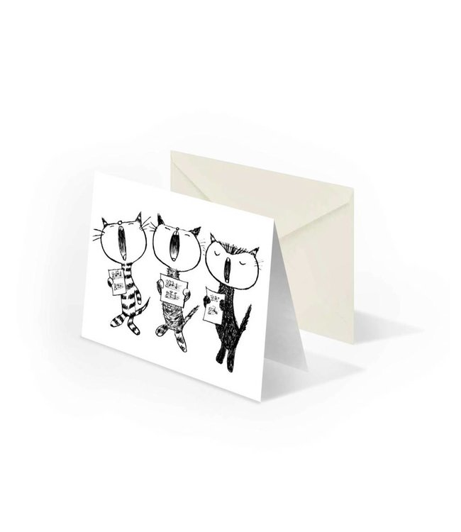 'Singing cats' folded notecard, Fiep Westendorp