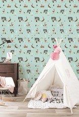 Kek Amsterdam Wallpaper Forest Animals, mint - Fiep Westendorp