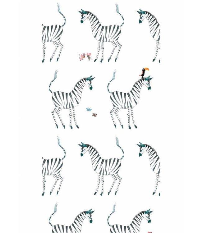 Patroonbehang Zebra, wit - Fiep Westendorp