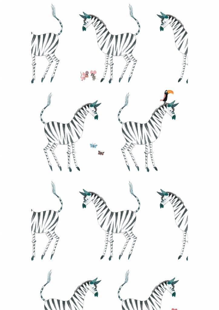 Kek Amsterdam Behang Zebra, wit - Fiep Westendorp