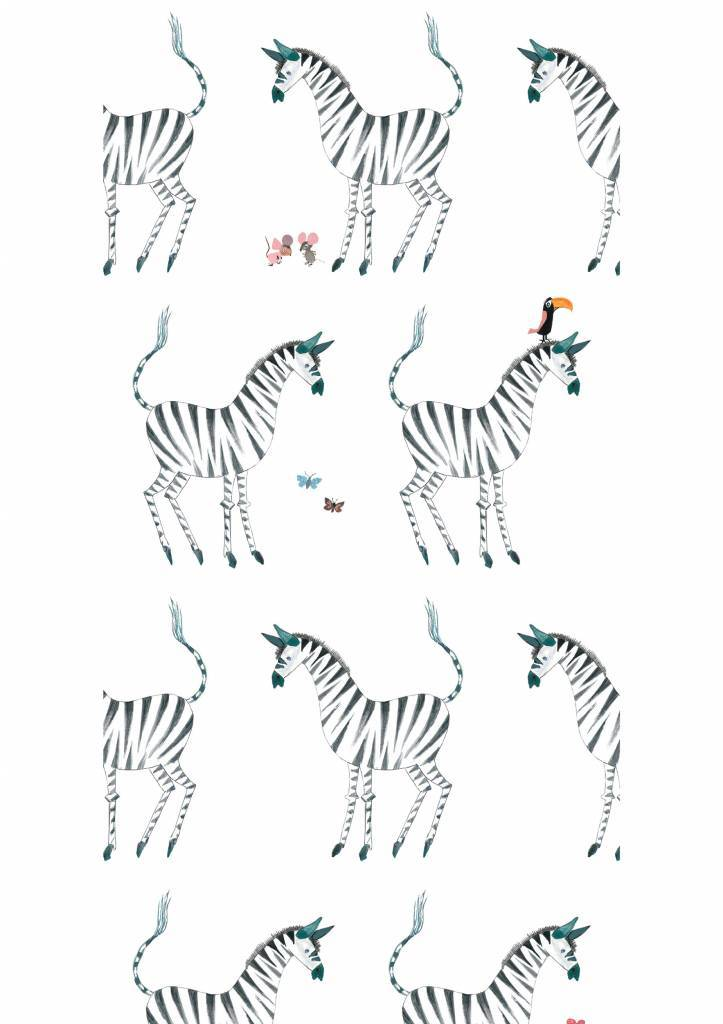 Kek Amsterdam Wallpaper Zebra, white - Fiep Westendorp
