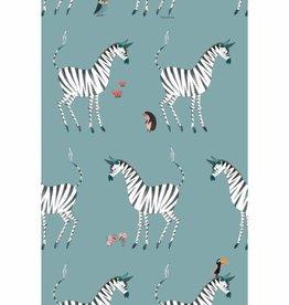 Kek Amsterdam Wallpaper Zebra, petrol