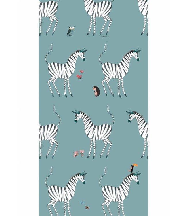 Behang Zebra, petrol (grijsblauw) - Fiep Westendorp