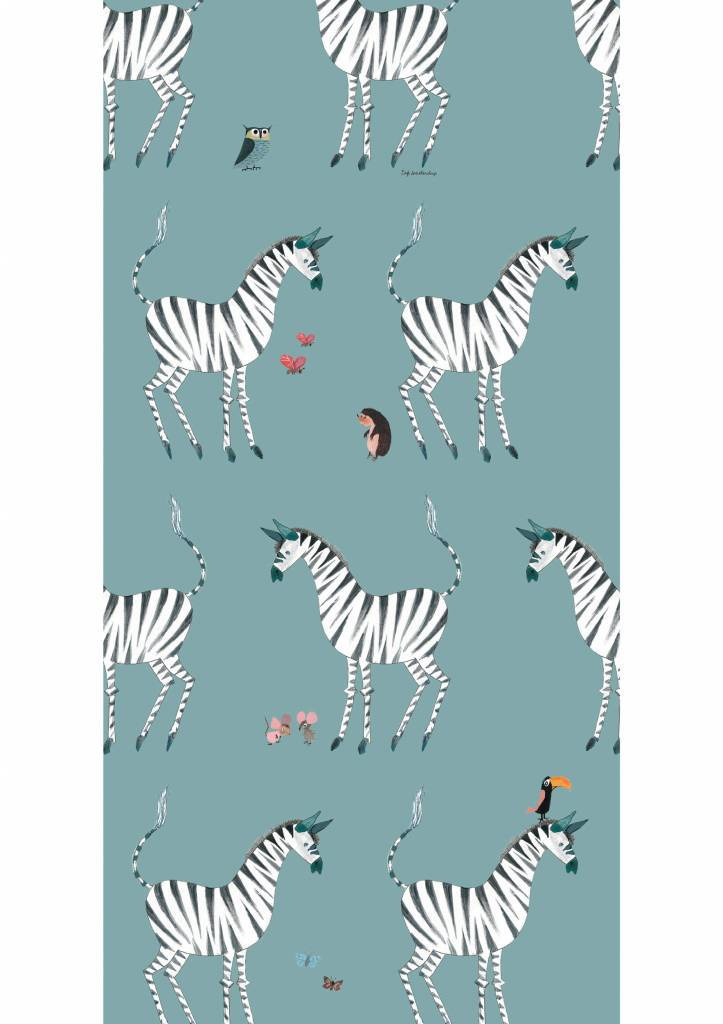 Kek Amsterdam Wallpaper Zebra, petrol - Fiep Westendorp