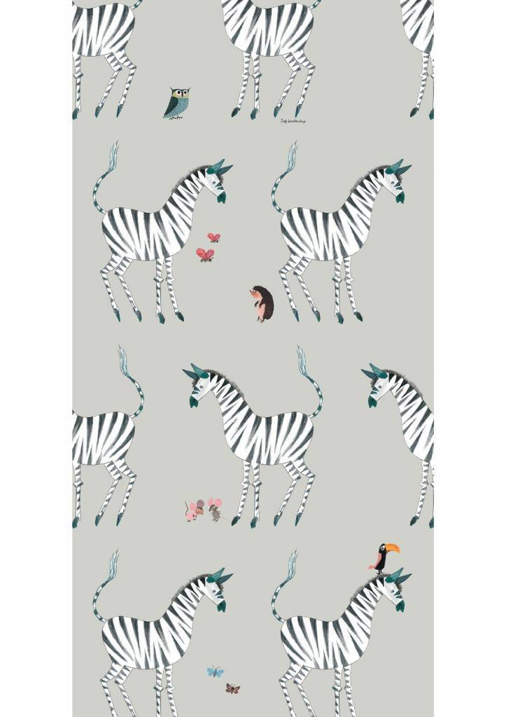 Kek Amsterdam Wallpaper Zebra, gray - Fiep Westendorp