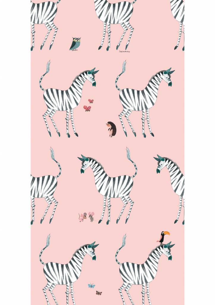 Kek Amsterdam Wallpaper Zebra, pink - Fiep Westendorp