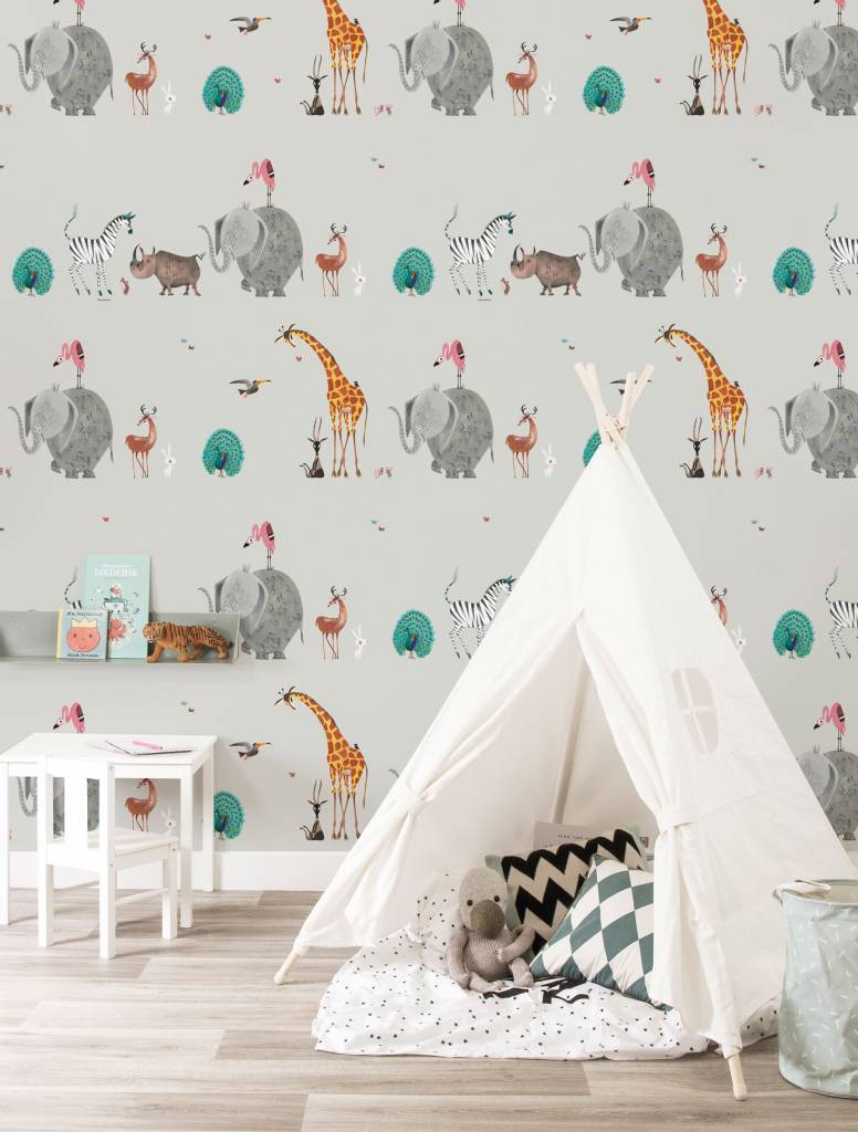 Kek Amsterdam Wallpaper Animals, gray - Fiep Westendorp