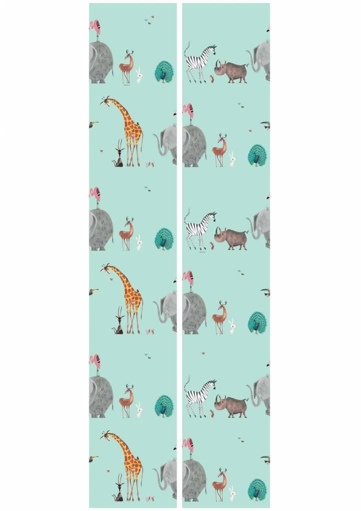 Kek Amsterdam Wallpaper Animals, mint - Fiep Westendorp
