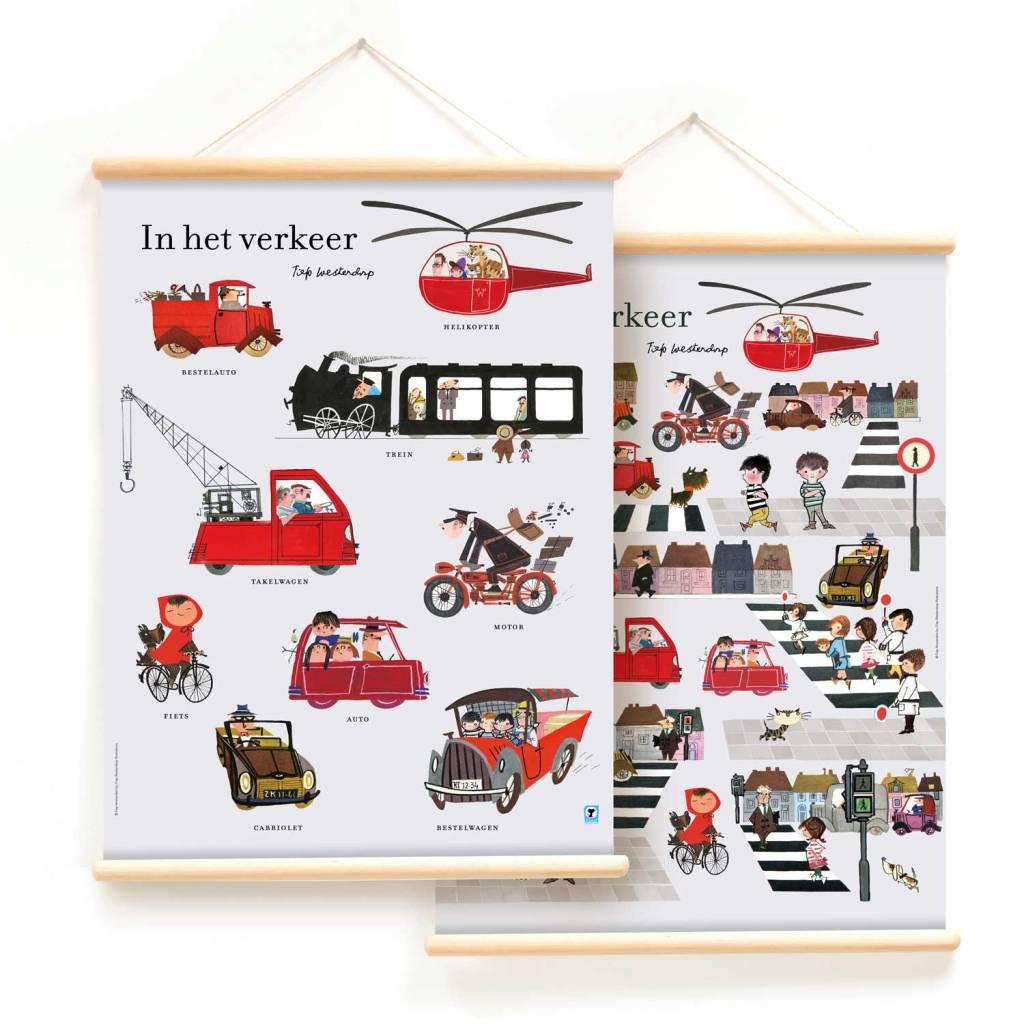 Little & Pure Schoolplaat 'In het verkeer' (dubbelzijdig) - Fiep Westendorp