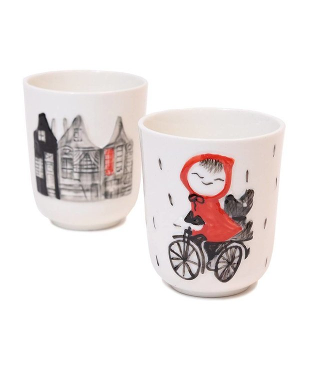 Porcelain Cups 'Girl Riding a Bike', set of 2