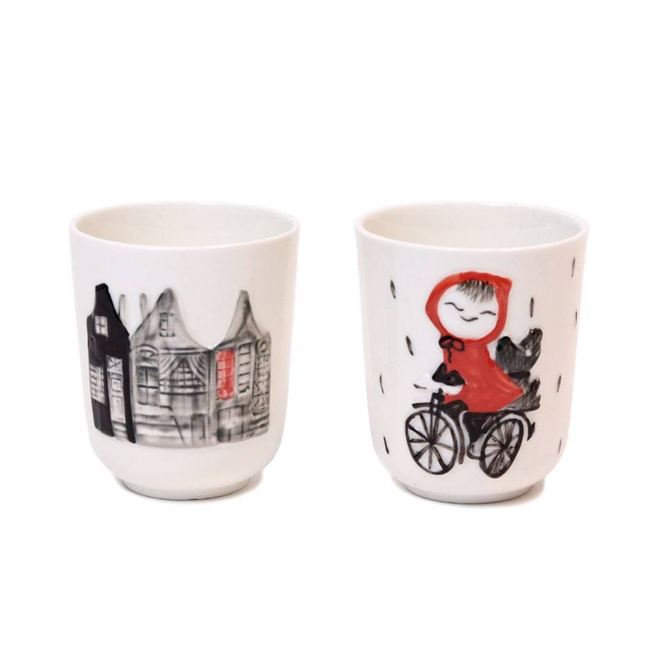 Hollandsche Waaren Porcelain Cups 'Girl Riding a Bike', set of 2