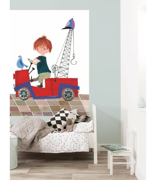Fiep Westendorp Wallpaper Panel 'The Red Tow Truck'142,5 x 180 cm