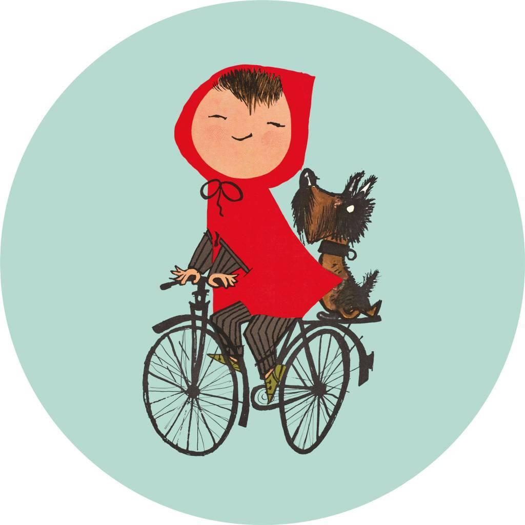 Kek Amsterdam Behangcirkel 'Op de fiets', groen, ø 190 cm