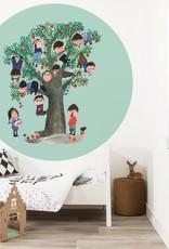 Kek Amsterdam Behangcirkel 'Appelboom', groen,  ø 190 cm