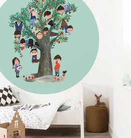 Kek Amsterdam Wallpaper Circle 'Apple Tree', green