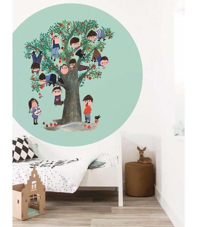 Fiep Westendorp Wallpaper Circle 'Apple Tree', green, ø 190 cm