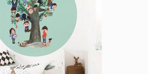 Fiep - kinderkamer behang nu uitgebreid met behangcirkels