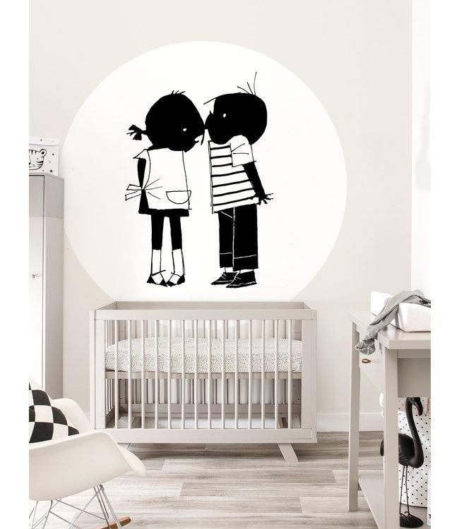 Jip and Janneke Wallpaper Circle, 'Kiss', ø 190 cm
