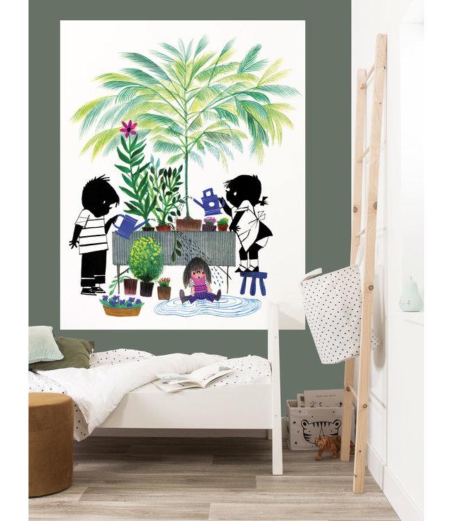 Kek Amsterdam Jip en Janneke behang paneel 'Tuinieren'  142,5 x 180 cm