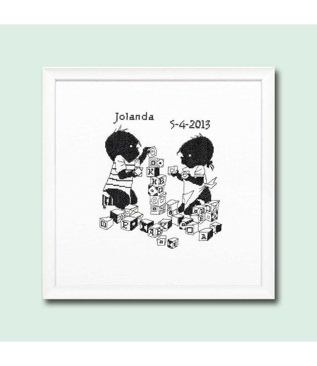 Jip en Janneke borduurpakket - geboorte - blokken