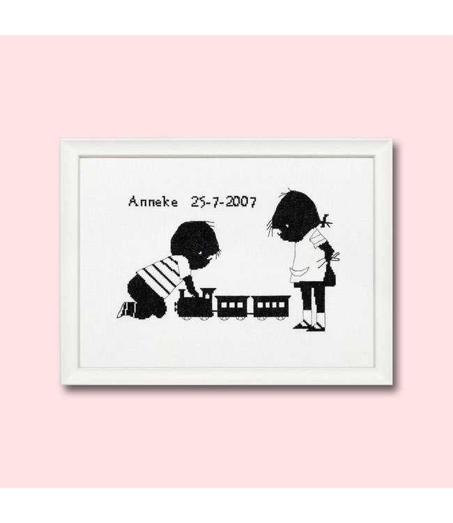 Jip en Janneke geboortetegel borduurpakket - trein