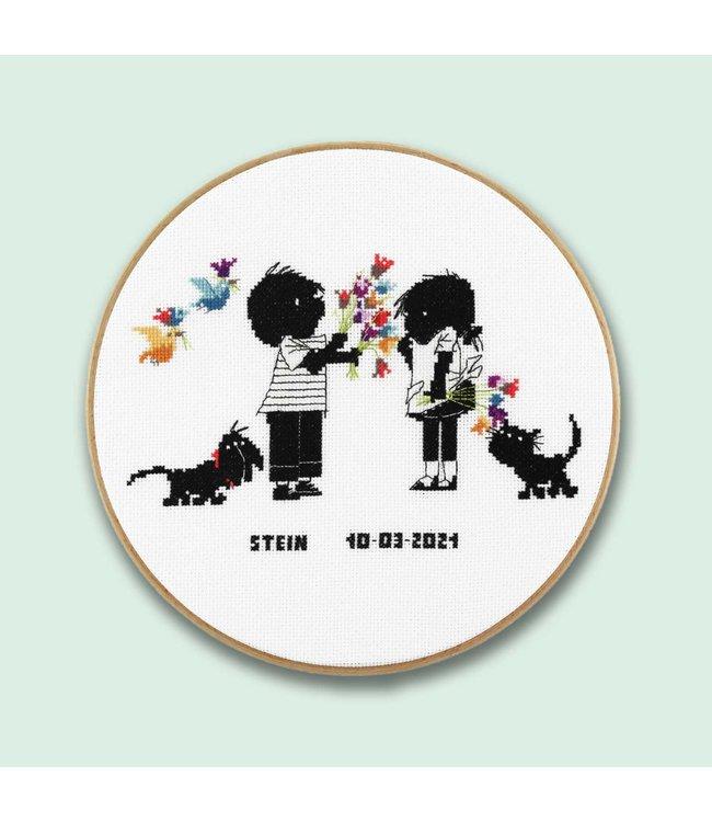 Pako Cross-stitch Set 'Jip and Janneke' - flower - round 25cm