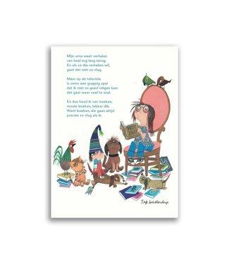 'Mijn oma weet verhalen', poetry postcard with envelope