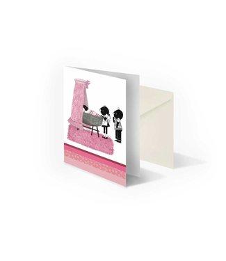 Bekking & Blitz 'Jip en Janneke bij wieg, roze', gevouwen ansichtkaart